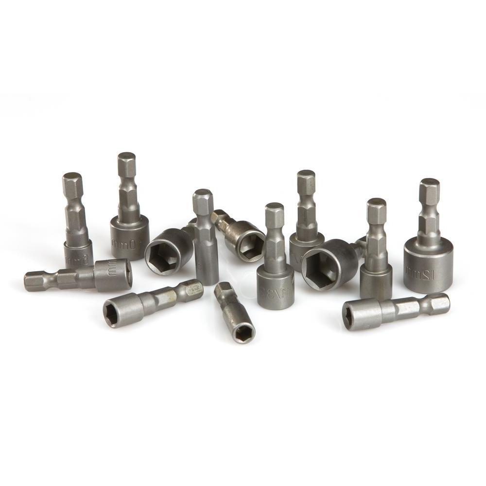 3/16-7/16 in., 5-12 mm Quick-Change Power Nut Driver Bit Set (14-Piece)